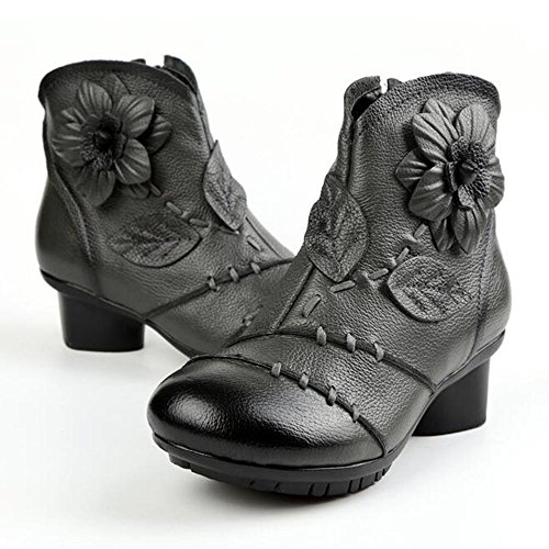 Boots Short Hand Flower NSXZ GRAY Women's Ethnic 39 Leather Made Style Genuine T5z5xqB