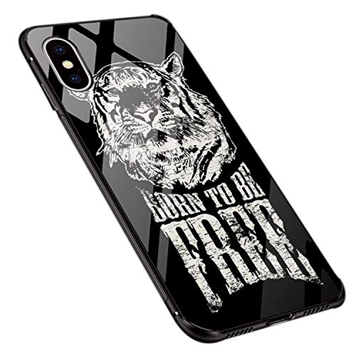 UNIYA iPhone X Case, Tempered Glass Pattern Back Shock Absorption Soft Silicone Bumper Protective Case (Tiger) -