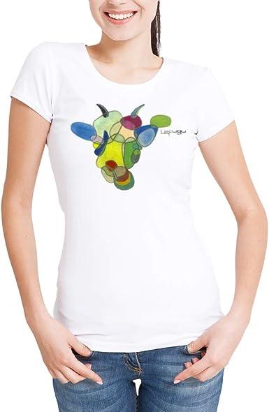 Camiseta algodón Blanca de Mujer con diseño Original con Arte ...