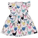 QLIyang Girls Chicken Flutter Sleeve Dress Birthday Party Flower Baby Girl Dress 7T Blue-Pink