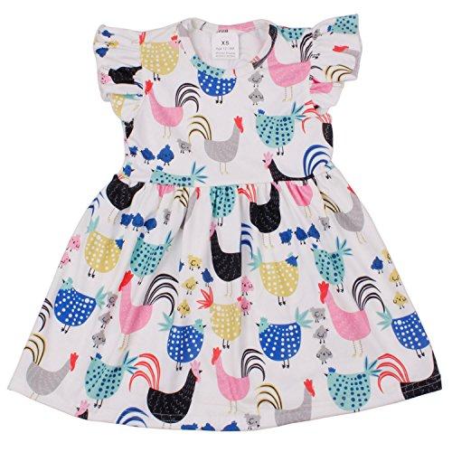 QLIyang Girls Chicken Flutter Sleeve Dress Birthday Party Flower Baby Girl Dress 6T Blue-Pink