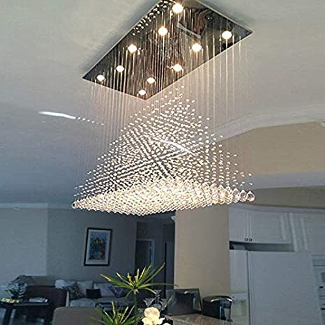 check out 5942c d186c Moooni Modern Rectangular Raindrop Crystal Ceiling Lighting Fixture Pendant  Chandelier LED Light for Dining Rooms Rectangle Chandeliers L40