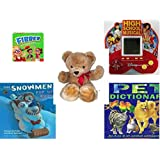 """Children's Gift Bundle - Ages 6-12 [5 Piece] - Flibber Board Game - High School Musical 5 in 1 Electronic Handheld Game - Eden Toys Teddy Bear Red Bow 18"""" - Snowmen Pop-Up Book Hardcover Book - Pet"""