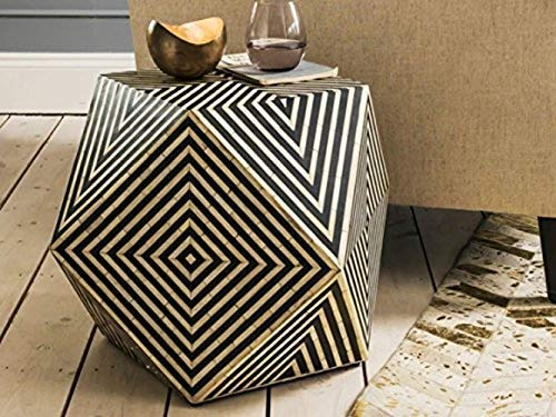 Handmade Bone Inlay Striped Design Riley Stool in Black, Bone Inlay Side table (Table Side Inlay Bone)