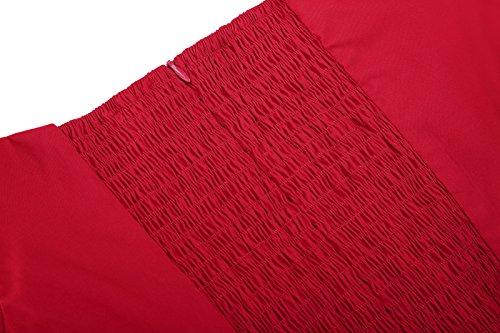 Mujer Estampado Delgado Hombro 126 Vintage Lápiz V Sin Para Retro Cuello Rojo Poque Vestido Corta Manga Belle Iqxw1Op6W