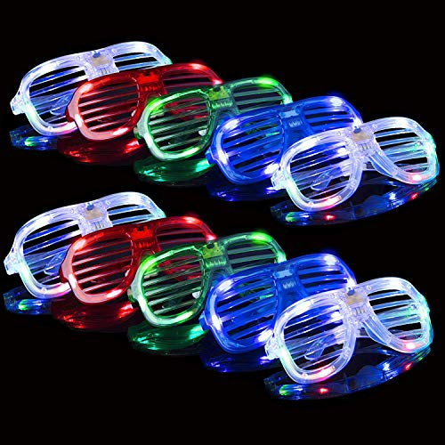 (SATKULL LED Glasses Shine in The Dark - Bright Carnival Glasses in Bulk, Halloween neon Party Supplies, Blinds Tones and Accessories (10)