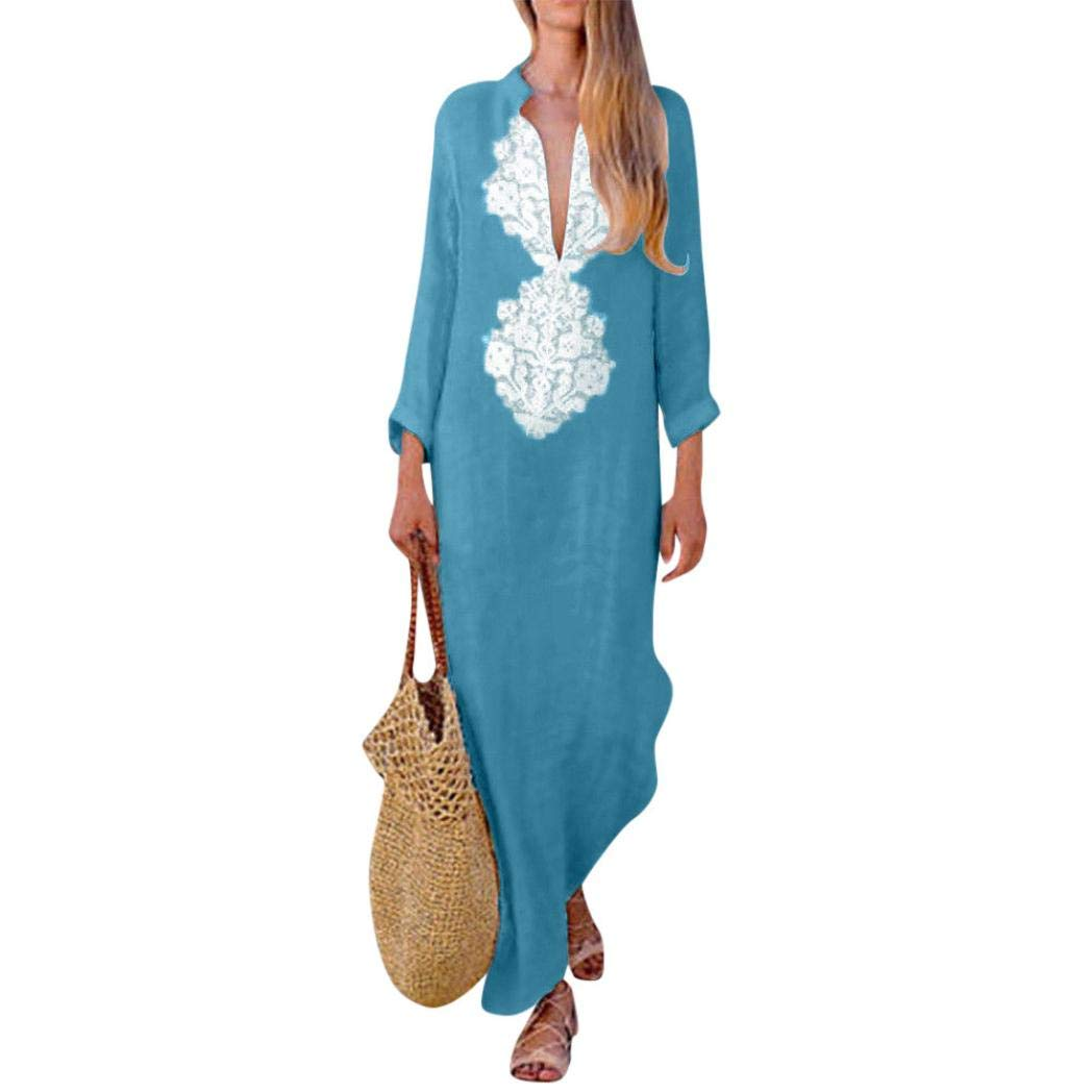 Zainafacai Fashion Womens Long Sleeve V-Neck Maxi Dress Loose Baggy Kaftan Sundress (Blue, S)