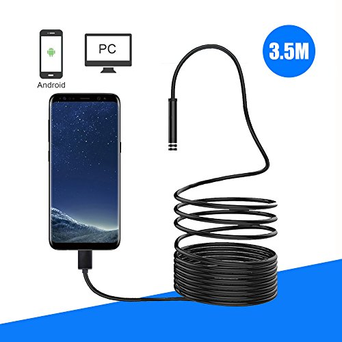 USB Endoscope,BUNKER INDUST Borescope Inspection Camera 2.0 Megapixels Semi-rigid HD Waterproof Adjustable 6 Leds Snake Spy Camera for Galaxy Andriod Win 7 8 10 Tablet - 3.5Meters (11.5FT)