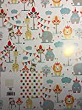 Boys/Girls/Childrens Zoo Animals Gift Wrapping Paper Birthday 2 Sheets+1 Gift Tag