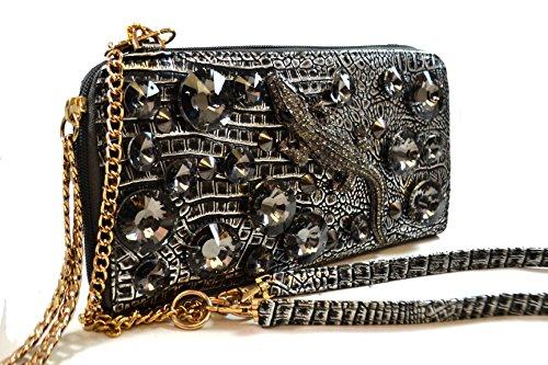 A+ Handmade Metallic Evening Bag Rhinestone Crocodile with Gems, Triple Option Adjustable Shoulder Straps: ZH3206-PR