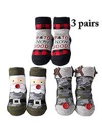 Zoylink 3 Pairs Toddlers Christmas Socks Santa Elk Cotton Socks for Baby