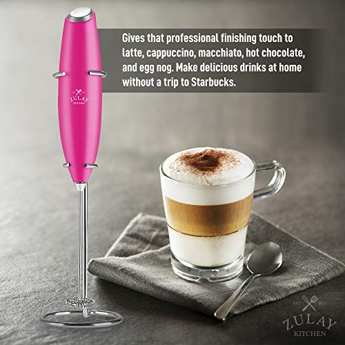 Zulay Original Milk Frother Handheld Foam Maker for Lattes - Whisk Drink Mixer for Bulletproof® Coffee, Mini Foamer for Cappuccino, Frappe, Matcha, Hot Chocolate by Milk Boss (Dragon Fruit)