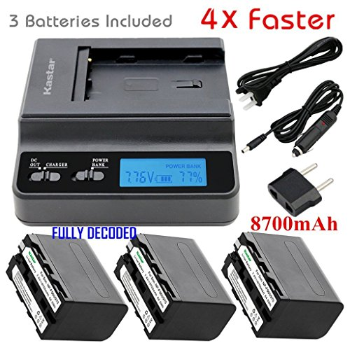 Kastar Fast Charger + 3 Battery for Sony NP-F970 NP-F960 F970 F960 F975 F950 and DCR-VX2100 HDR-AX2000 FX1 FX7 FX1000 HVR-HD1000U V1U Z1P Z1U Z5U Z7U HXR-MC2000U FS100U FS700U and LED Video Light by Kastar