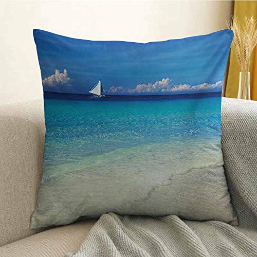 Nautical Pillowcase Hug Pillowcase Cushion Pillow Exotic Tropic Beach in Philippines Island Horizon Summer Paradise Concept Anti-Wrinkle Fading Anti-fouling W18 x L18 Inch Turquoise Cream