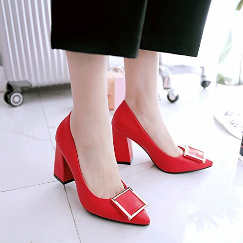 Charm Foot Womens Elegant Chunky High Heel Pump Shoes Red 5Y32l