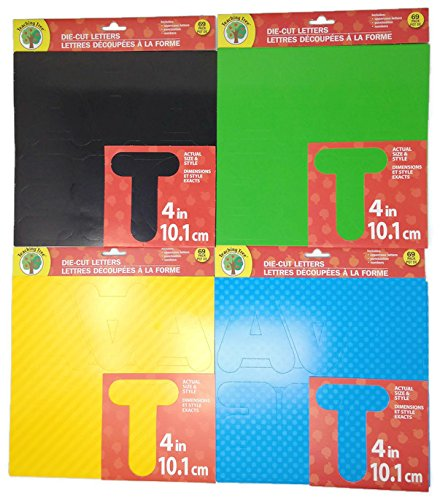 Die Cut Letter Set, Poster Letters & Bulletin Board Pop Outs ; 4 inch Letter Set Includes 69 Upper Case Characters and Numbers of Each Color: Black, Green. Yellow, Blue, 276 Total Pieces Set
