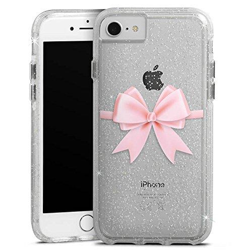 Apple iPhone 7 Bumper Hülle Bumper Case Glitzer Hülle Rosa Schleife ohne Hintergrund Durchsichtig