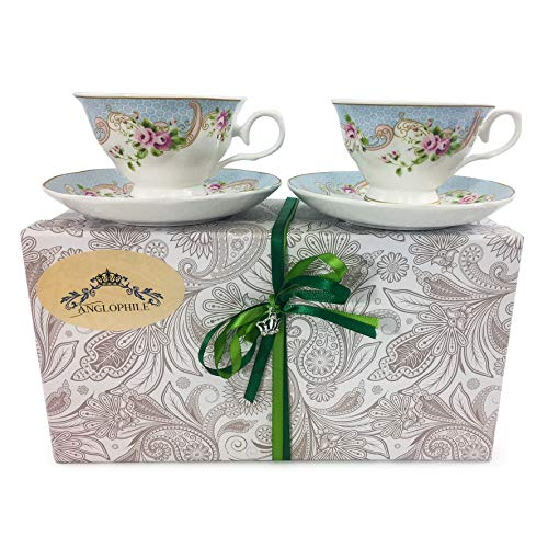 Fine Bone China English Style Pedestal Cup And Saucer Set Of Two In Gift Box (Pink Rosebud Blue)