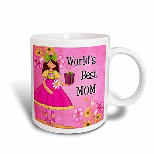 3dRose Worlds Best Mom in Pink for Mother's Day Ceramic Mug, 15-Ounce