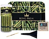 King Palm Bundle | Mini Size Natural Slow Burning Pre-Rolled Palm Leafs (20 Pack) | Green Rolling Tray | Cone Loader | Humidifying Pack | Packing Stick |