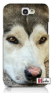 Siberian Husky Dog Direct Print (not a sticker) Unique Quality Hard Snap On Case for Samsung Galaxy Note 2 Note II N7100 (WHITE)Kimberly Kurzendoerfer