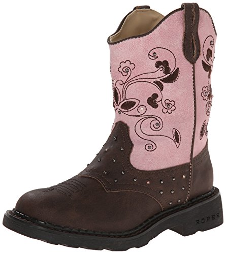 (Roper Saddle Light Round Toe Cowgirl Boot (Toddler/Little Kid), Brown, 2 M US Little Kid)
