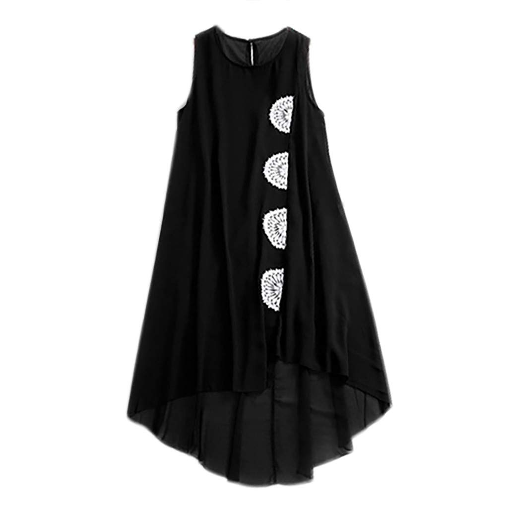 Women's Blouses Ladies Sexy Sleeveless O-Neck Shirt Irregular Hem Pullover Vest Tops Tunic Black