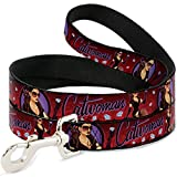 Buckle Down Dog Leash Catwoman Bombshell Pose Diamonds Red Purple Black 4 Feet Long 0.5 Inch Wide
