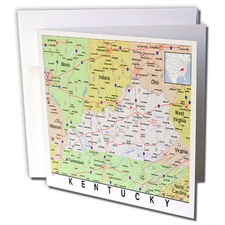 Kentucky City Map - 3dRose Print of Kentucky Cities and State Map, Greeting Cards, Set of 6 (gc_184594_1)