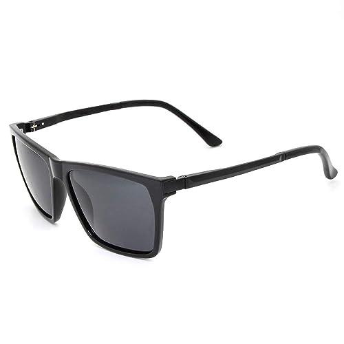 6aac4d09987 Polarized Sunglasses For Men Women Wayfarer-Square Fashion Oversized UV400  Driving (Black-grey