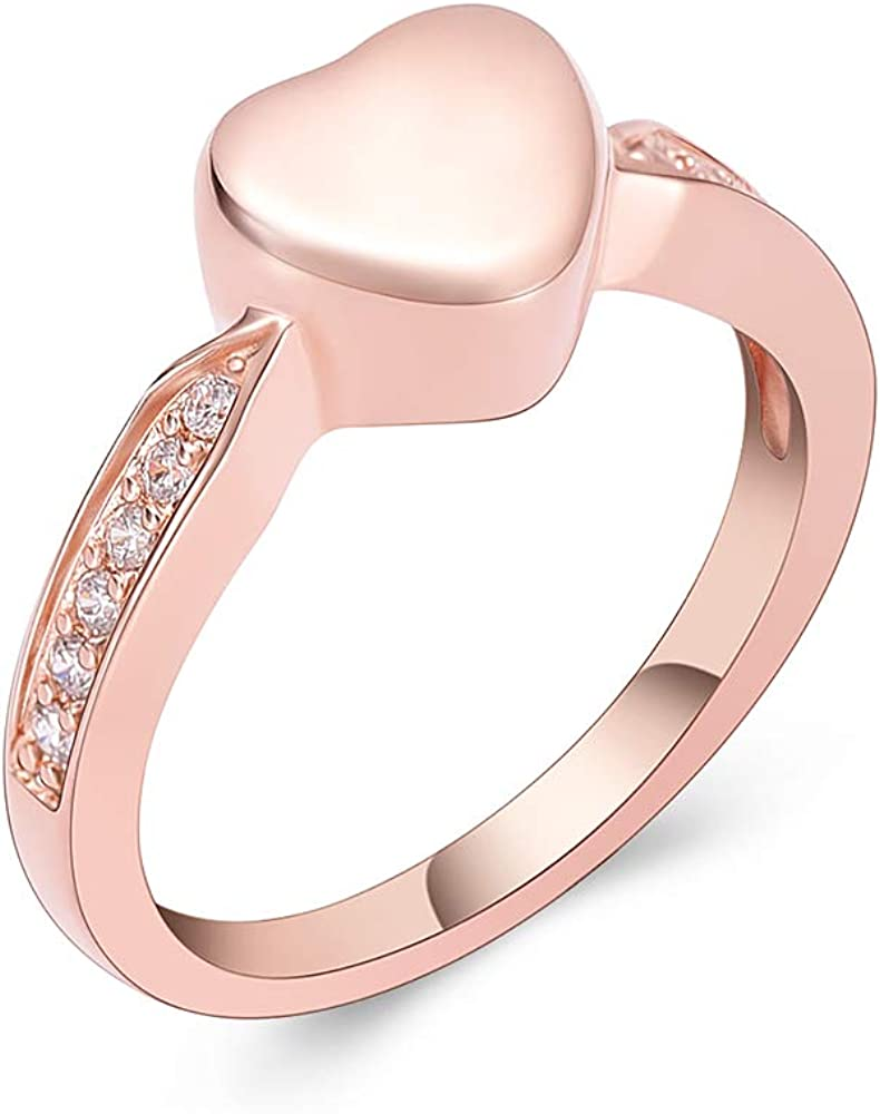 Yinplsmemory Cremation Jewelry Crystal Heart Cremation Ring for Ashes Keepsake Finger Urns for Women Men Size(6,7,8,9) Engravable Stainless Steel Ring Urn Jewelry