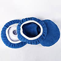 Leoie Car Polisher Pad Soft Microfiber Bonnet Buffing Cover for Furniture TV (Blue)
