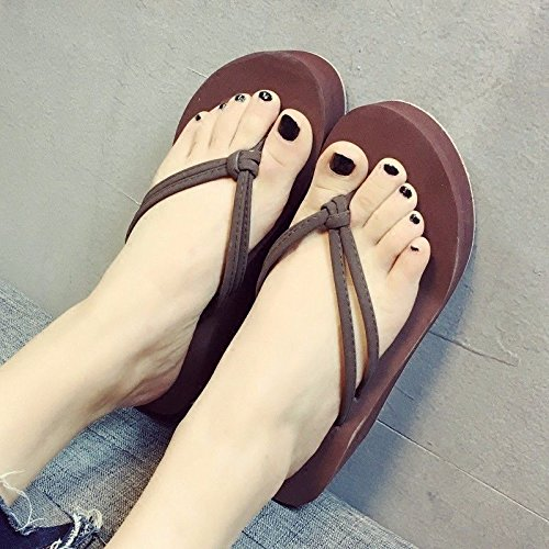 fashion anti Brown flip fashions high heels XZ LIUXINDA clip flops foot wear slippers Summer British and sandals women's slip PwEgR