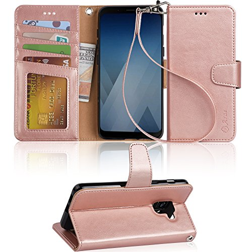 Galaxy A5 2018 Case, Galaxy A8 2018 case, Arae Flip Folio [Kickstand Feature] PU leather wallet case with [4 slot] ID&Credit Cards Pocket for Samsung Galaxy A5 2018 / A8 2018 … - rose gold by Arae