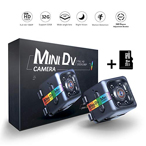 ETEYES Mini Dv Camera 1080P Hidden Spy Wireless Cam for Nanny, Sports Home Office Security Camera with Night Vision with 32GB Card