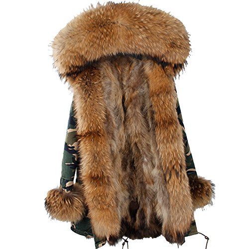 little deer 100% Real Genuine Raccoon Fur Coat With Hood and Cuffs (L, Camouflage and Beige (Genuine Raccoon)