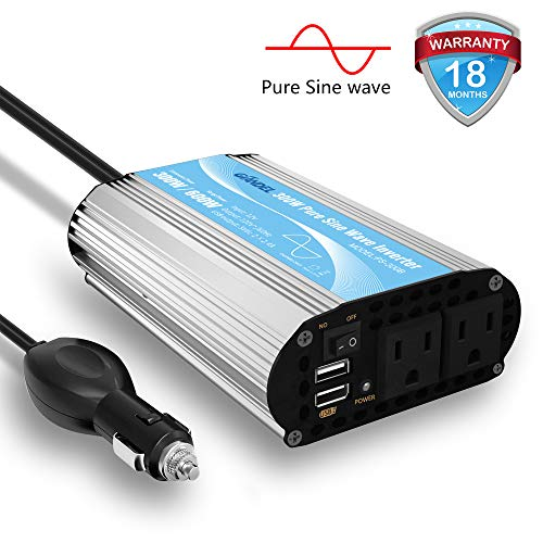 Pure Sine Wave Power Inverter 300Watt Car Adapter Converts 12V DC to 120V  AC with 4 8A Dual USB and 2 AC Outlets for Tablets Laptops Smartphones CPAP