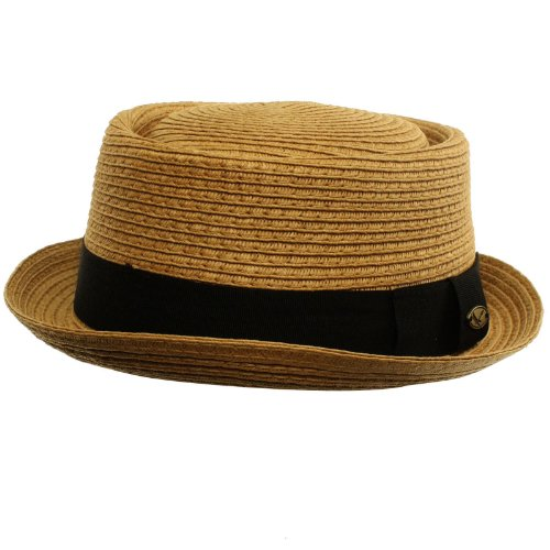 Men's Cool Summer Straw Pork Pie Derby Fedora Upturn Brim Hat (Hat Braid Fedora Summer)