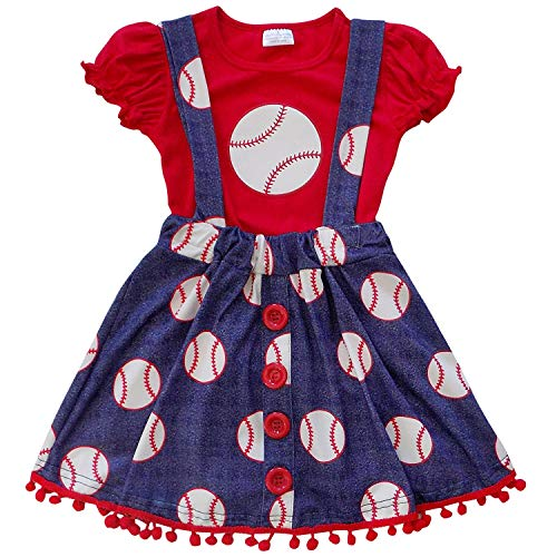 So Sydney Girls Toddler Baseball Summer Dress, Capri Outfit, Baby Bubble Romper (L (5), Baseball Suspender)