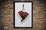 Air Jordan One 'Banned', 'Chicago', 'Royal', 'Black Toe' Illustration, Vintage Hanging Kicks -Large Giclee Sneaker Wall Art 11' x 14', 13' x 19', 18' x 24', 24' x 36'