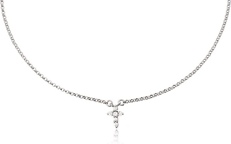 Cross Layered Choker Necklace in Polished Sterling Silver