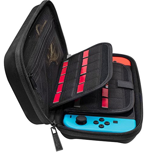Price comparison product image Nintendo Switch Deluxe Travel Carrying Case with (19 Game Card and 2 Micro SD Card Holders) by ButterFox - Black