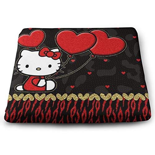 YZMQQ Chair Pads- Non Slip Square Chair Cushion Comfort Memory Foam Hello Kitty with Heart Thicken Seat Cushion Pillow