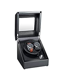 AUBLAN Wooden Double Automatic Watch Winder Storage Boxes for 2 Watches