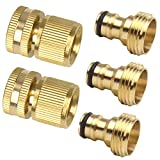 5 Pcs Brass Garden Hose Quick Connector Set 3/4 inch Easy Connect Fitting Male Female