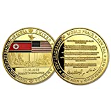 Novelty Political Gift Presidential Challenge Coin Collectible Donald Trump and Kim Jong Un Peace Talk Gold Plated Commemorative Coin 2018