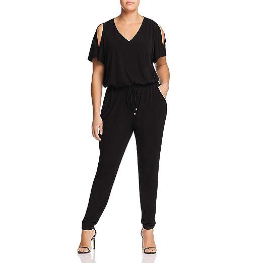 4a97132c6948 Michael Michael Kors Womens Plus Front Tie Skinny Leg Jumpsuit Black 0X
