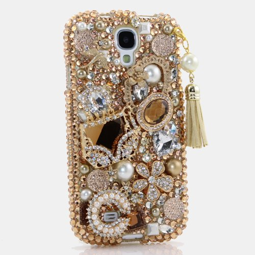 Samsung Galaxy S4 i9500 Luxury 3D Bling Case - Gorgeous Golden Purse Royal Queen Pearl Fantasy Design - Swarovski Crystal Diamond Sparkle Girly Protective Cover Faceplate (100% Handcrafted By Star33mall)