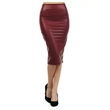 07573c9bb6b95 Plus Faux Leather Skirt Pencil High Waist Women Sexy Black (1X ...