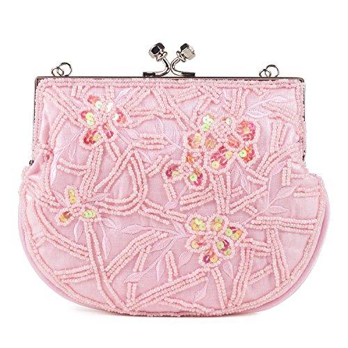 Satén cuentas Frame Bag rosa claro